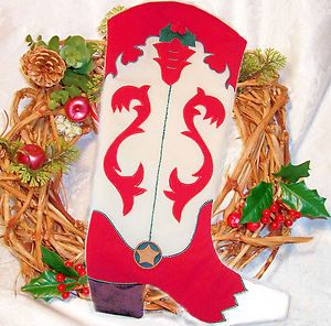 Western Cowboy Boot Christmas Stocking Full Size 18x11 White & Red w