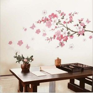 Pink Cherry Peach Blossom Plum Flowers Butterfly Wall Stickers Decal
