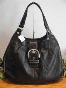 New Coach Soho Leather Large Lynn Hobo Bag Purse Black