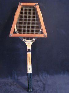 Vintage Spalding Fibre Welded Tennis Racket with Wooden Head Brace