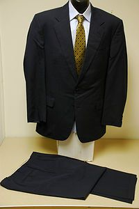 AMAZING Chester Barrie Hand Tailored Navy Glen Plaid 2PC Suit Coat