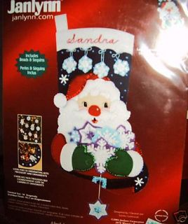 Janlynn Santa Snowflake Christmas Stocking Kit