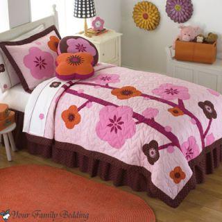 Pink Chocolate Brown Flower Girl Children Quilt Teen Bedding Set Twin