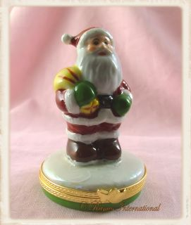 Limoges Porcelain Trinket Box Santa Clause Father Christmas New French