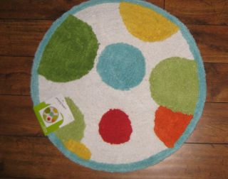 Jumping Beans Frog Monkey Bath Rug with Large Polka Dots New