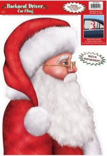 Santa Claus Backseat Driver Window Cling Christmas Car Decorations