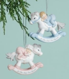 Inc Babys 1st Christmas Rocking Horse Ornament Pink or Blue Choice