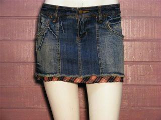 Zana Di Blue Denim Stretch Distress Jean Mini Skirt 7