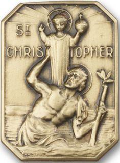 Antique Gold St Christopher Visor Clip Pendant Medal