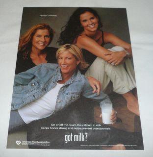 got Milk Ad Page Monica Seles Chris Evert Mary Jo Fernandez