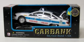 Chevrolet Caprice Chicago Police Diecast Metal Car Money Bank   1:24