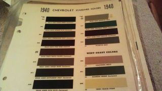 1940 Chevrolet Paint Chips West Coast Colors Also Included