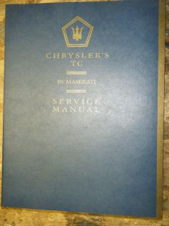 1988 CHRYSLER TC BY MASERATI ORIGINAL FACTORY SERVICE MANUAL SHOP