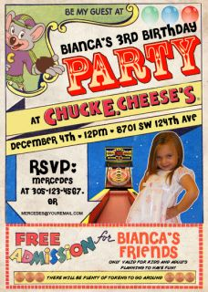 Chuck E Cheese Birthday Invitations Personalized with Photo Very