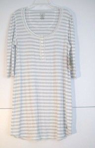 Juicy Couture Angel Ribbed Henley Nightgown Nighty Petite White Silver