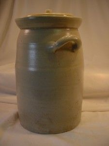 Antique Stoneware Large Crock Butter Churn with Lid