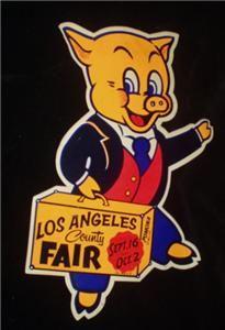 Vintage Los Angeles County Fair L A Pomona California Pig Sticker