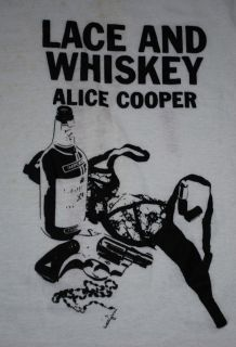 VINTAGE ALICE COOPER LACE WHISKEY 77 T SHIRT 1977 1970S L ORIGINAL