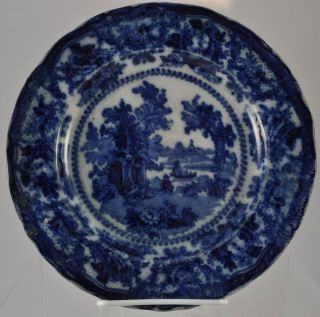 Wm Adams Fairy Villas Flow Blue Plate Circa 1850