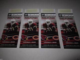 Arizona Cardinals vs Chicago Bears NFL Tickets 12 23 12 Glendale