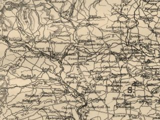 County England Detailed 1889 Map Showing Towns Cities RRs