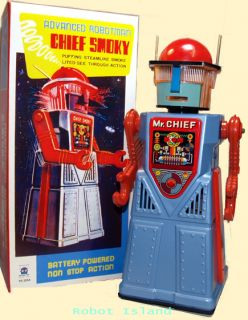 Mr Chief Smoky Robot Tin Toy Battery Operated Blue