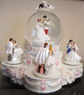 Princess Wedding Cake Snow Globe Cinderella Ariel Belle Snow White
