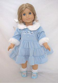 Blue Velvet Dress with Faux Fur Trim Collar fits American Girl & 18