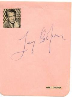 GARY COOPER VINTAGE 1940s ORIGINAL SIGNED ALBUM PAGE AUTOGRAPHED