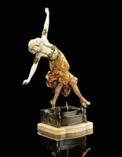 Antique Important Claire J Roberte Colinet Signed Art Deco Bronze