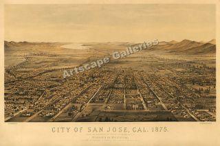 1875 San Jose California Map Santa Clara County 16x24