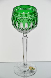 Emerald Green Cut to Clear Crystal Clarendon Wine Goblet Glass New