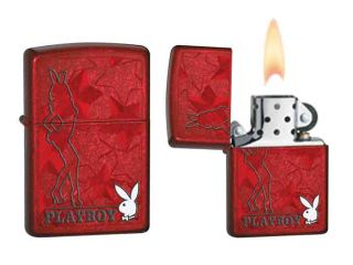 Zippo Playboy Pocket Lighter Iced Candy Apple Red Stars#28193