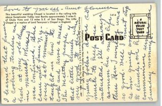 Old Postcard Chapel of Roses Chula Vista California CA