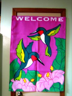 Large Welcome House Flag Ruby Throated Hummingbirds Beautiful 28 x 40