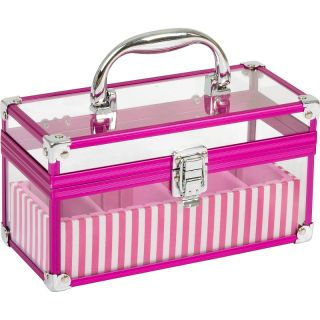 Pink Clear Acrylic Makeup Cosmetic Train Case Tray Kit Box Organizer