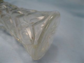 Vintage Diamond Clear Glass Salt & Pepper Shakers Metal Tops With