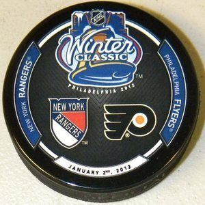 2012 Winter Classic NHL Hockey Puck Dueling Logos New York Rangers