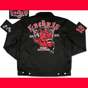 Lucky 13 Punk Rockabilly Red Devil Black Mens Lined Chino Jacket 4XL
