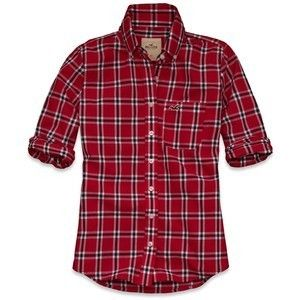 HoLLisTer by Abercrombie~ HARBOR COVE RED PLAID Classic SHIRT (XS