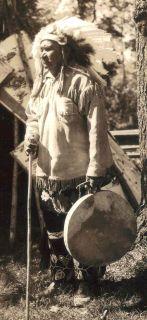 RPPC CHIPPEWA Indian Birch Bark Teepee Head Dress Drum Onamia MN