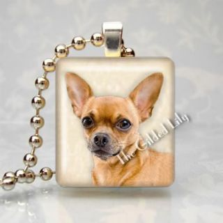 CHIHUAHUA DOG BREED PET PUPPY Scrabble Tile Altered Art Pendant