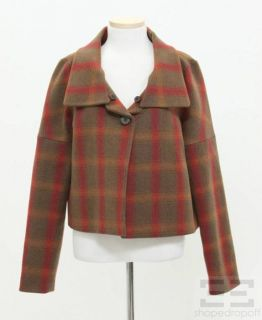 chloe brown red plaid wool 1 button jacket size 36