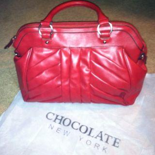 Chocolate New York Tote Handbag Purse Red Adorable