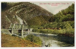 1909 Iron Gate Gap VA Clifton Forge VA Railroad Bridge Train Postcard