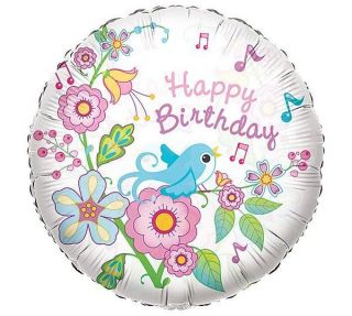 Happy Birthday Song Bird 18 Balloon Clear Plastic Party Flowers