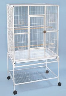 Wrought Iron Flight Cage with Stand White Bird Cage A 421 White