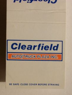 1980s Matchbook Auto Truck Plaza i80 Clearfield PA MB
