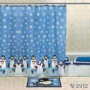 Curtain Christmas Bathroom Winter Snow Decor Xmas Bath Accent