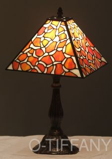 Tiffany Style Stained Glass Table Lamp Clementine w/ Metal Base